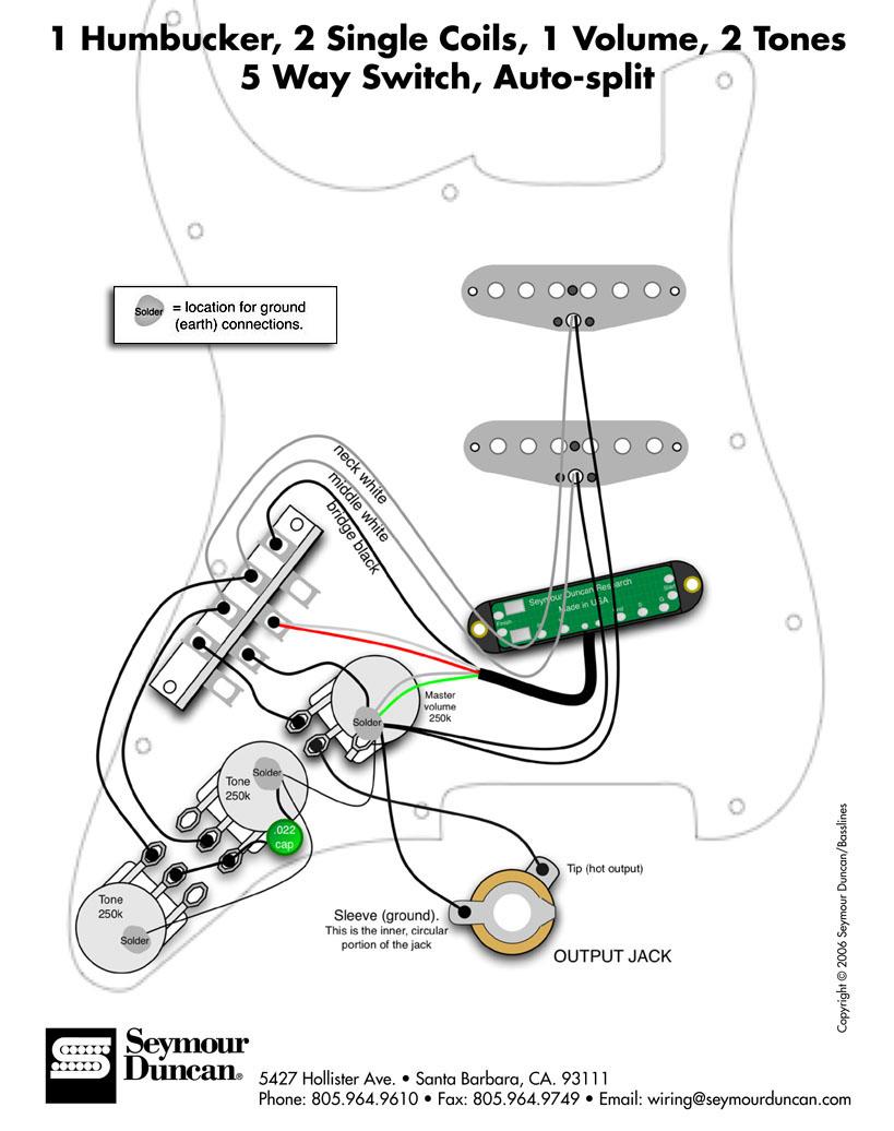 Accordo Cablaggio Stratocaster Hss Splittare Hb Con Tono