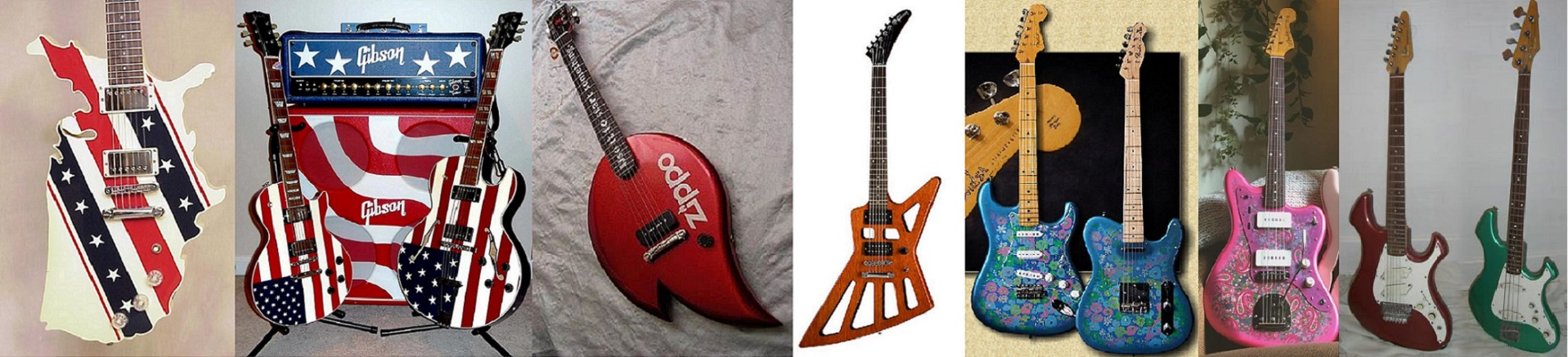 American guitars with different colors and shapes.