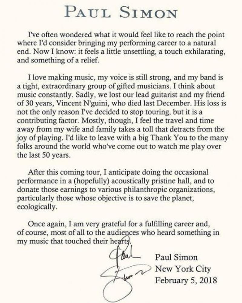 Paul Simon appende la chitarra al chiodo