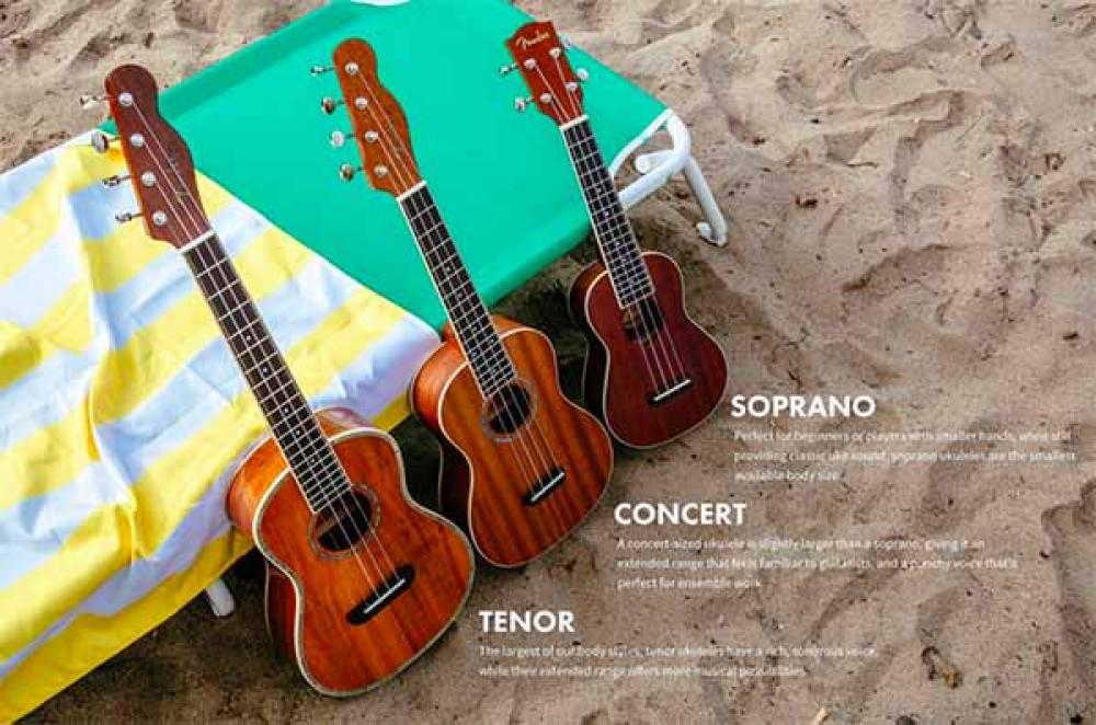 Fender mostra i cinque ukulele California Coast