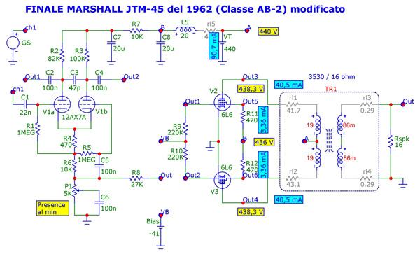 Classe-AB2 di un Marshall JTM-45 del 1962 modificato