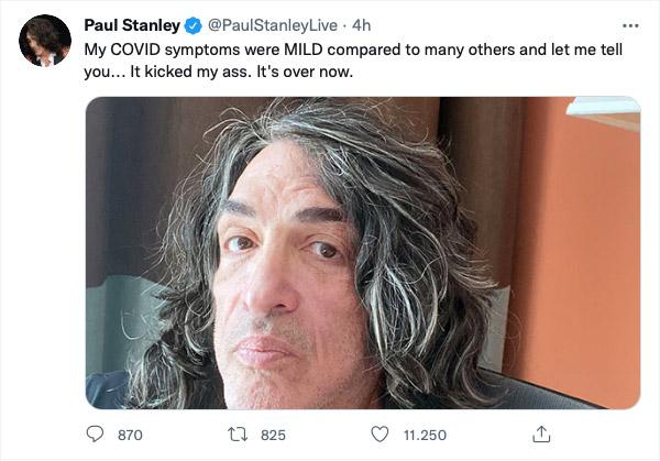 """Paul Stanley positivo al COVID-19: """"mi ha preso a calci"""""""