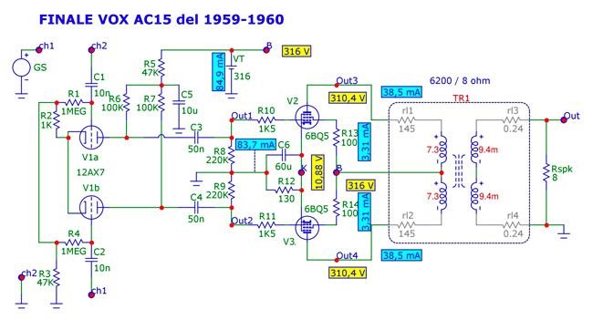 Classe-A1 di un Vox AC15 del 1959-1960