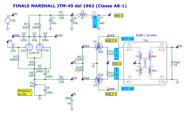 Classe-AB1 di un Marshall JTM-45 del 1962