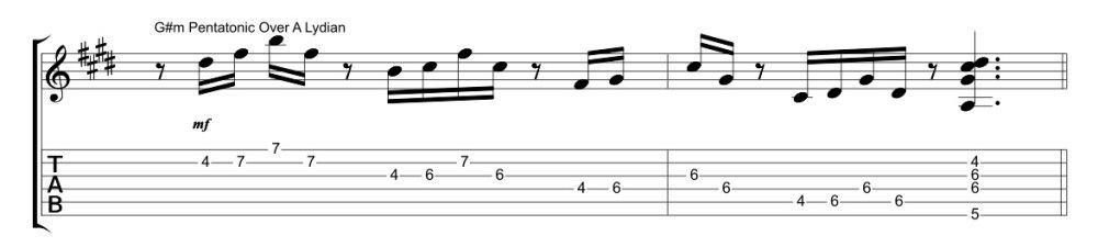 Una pentatonica per suonare Lidio