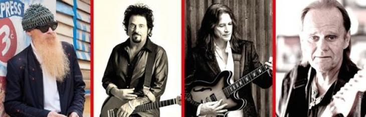 Steve Lukather con Gibbons e Ford sul palco dei Supersonic Blues Machine