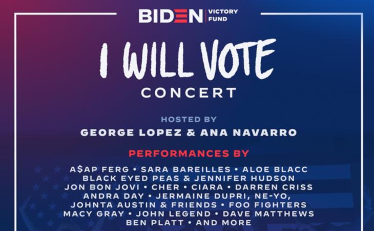 """""""I Will Vote"""" il concerto in streaming per Joe Biden"""
