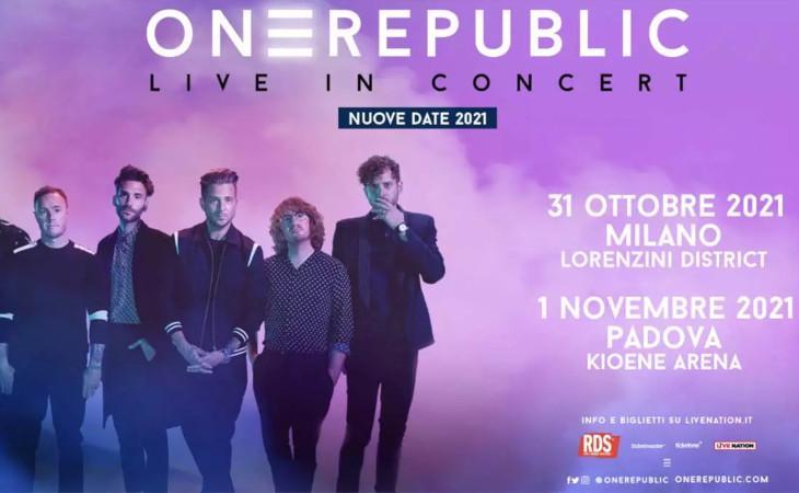 OneRepublic: annunciate le date riprogrammate al 2021