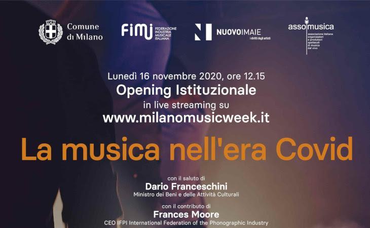 """""""La musica nell'era Covid"""": l'opening istituzionale della Milano Music Week 2020"""