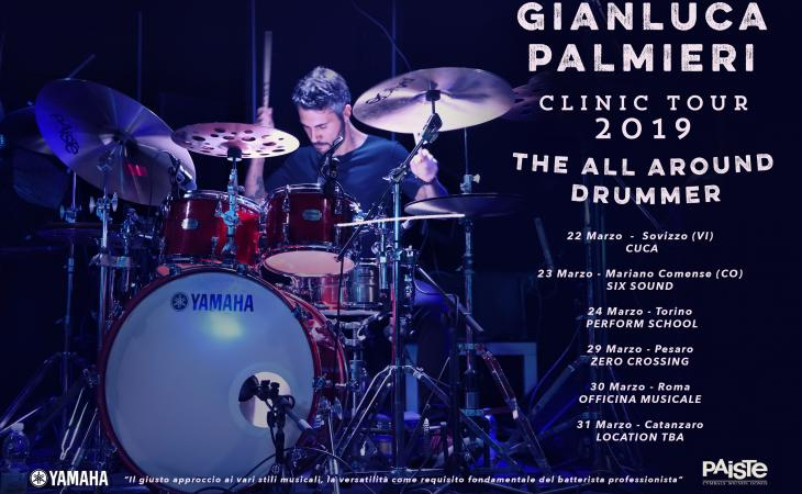 """""""The All Around Drummer"""", clinic tour di Gianluca Palmieri"""