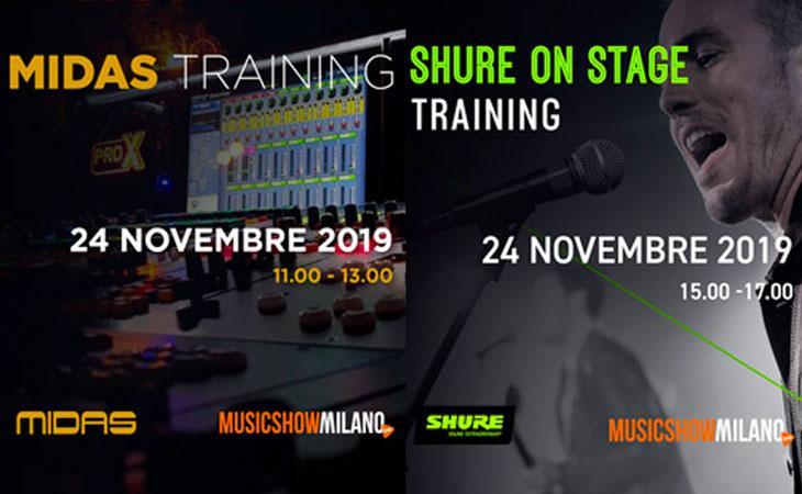 Training gratuiti Shure e Midas a SHG Musicshow Milano 2019
